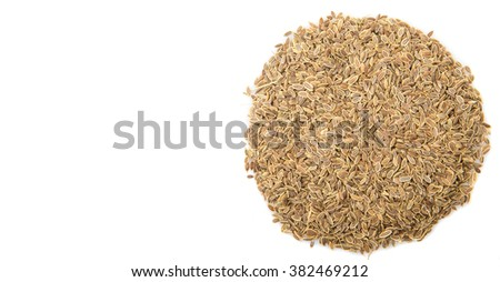Dill herb seeds over white background