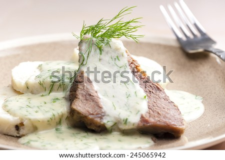 dill sauce with beef meat - stock photo