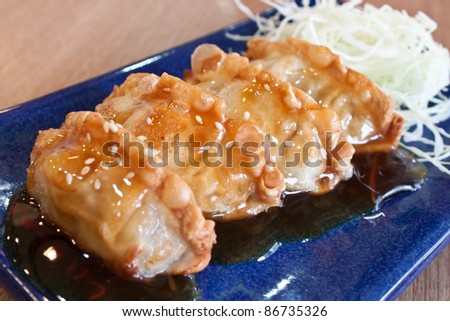 Dim-sum call Gyoza in  plate - stock photo