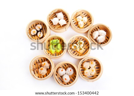 Dim Sum in Bamboo Steamed Bow - stock photo
