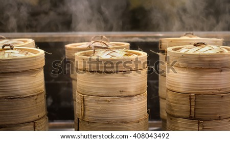 Dim sum steamers at a Chinese restaurant in Bangkok, Thailand - stock photo