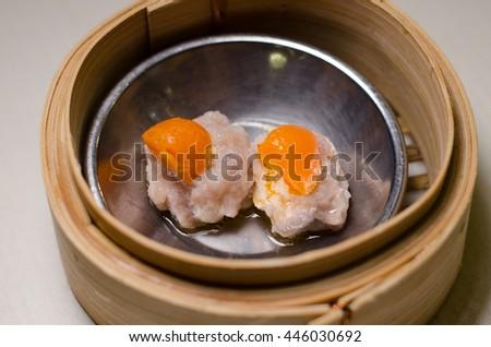 dim sum, yumcha, dim sum in bamboo steamer, chinese cuisine, Type of Chinese Steamed Dumpling - stock photo