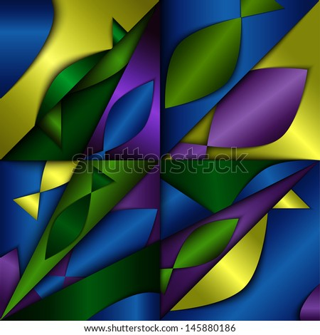 Dimensional abstract background, composition with fish silhouettes. Rasterized version - stock photo