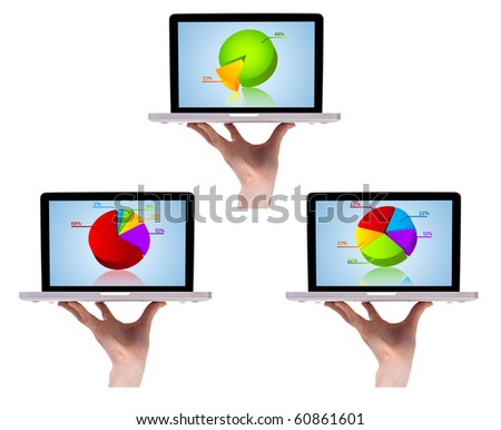 Dimensional colorful chart collection in laptop 2, isolated on white - stock photo