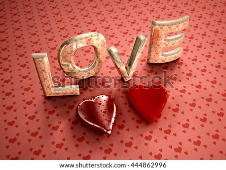 Dimensional inscription of LOVE and hearts near it. 3D illustration. - stock photo