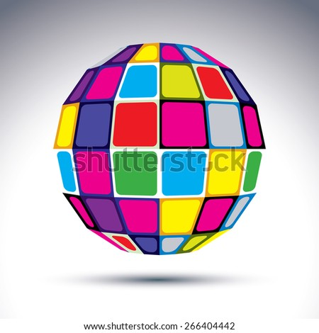dimensional modern abstract object, 3d disco ball. Psychedelic vivid globe created with colorful squares.
