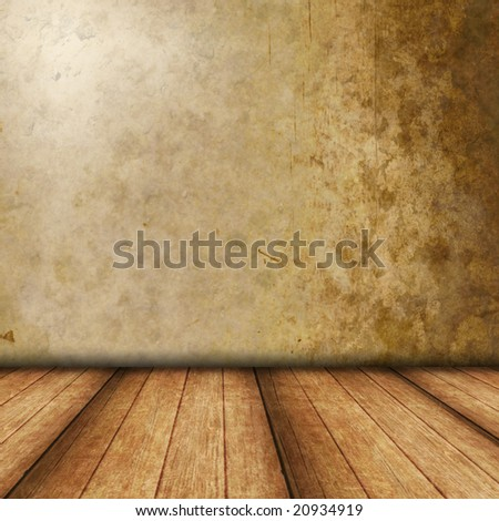 Dimensional Room with  Brown Grunge wall, and Wood Flooring.