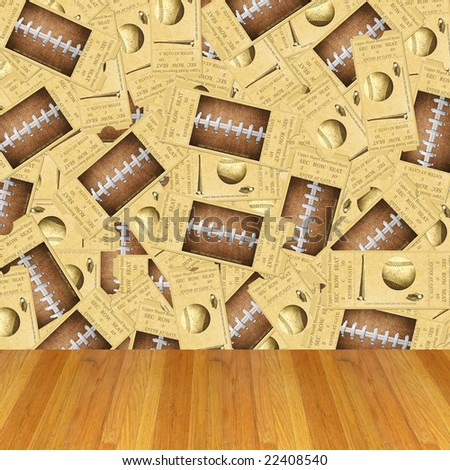 Dimensional Room with Football, Baseball Ticket Wallpaper and a Wood Floor.
