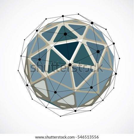 dimensional wireframe low poly object, grayscale spherical shape with black grid. Technology 3d mesh element made using triangular facets for use as design form in engineering.