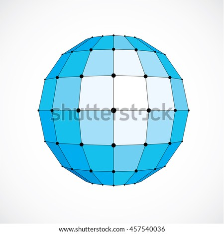 dimensional wireframe low poly object, spherical blue facet shape with black grid. Technology 3d mesh element made using squares for use as design form in engineering.