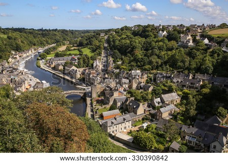DINAN, FRANCE - SEPTEMBER 08, 2015: Medieval scenic old town, attractive tourist destination in Brittany, northwestern France.