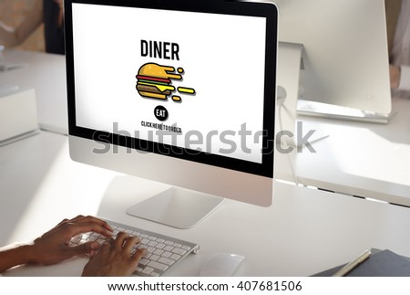 Diner Eating Restaurant Cafe Concept - stock photo