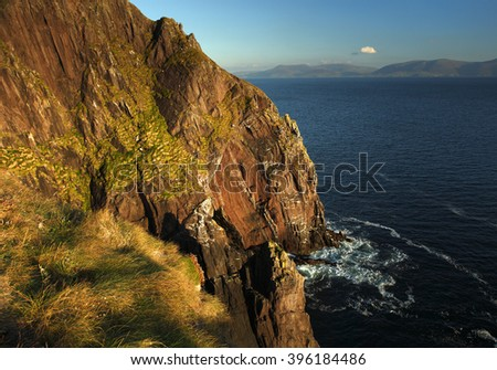 Dingle cliffs on the Wild Atlantic Way in County Kerry in Ireland - stock photo