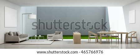 Dining and living room in modern house with white picture frame - 3D rendering
