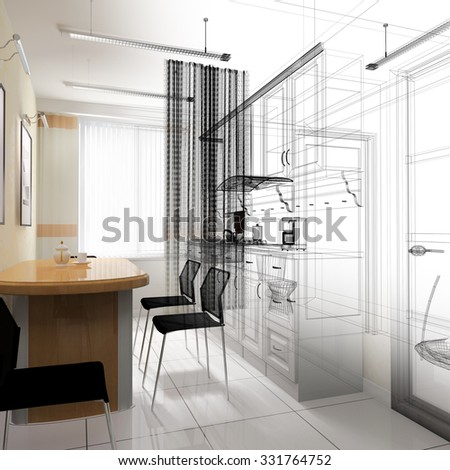 dining area in a modern office, 3d rendering, 3 d  rendering