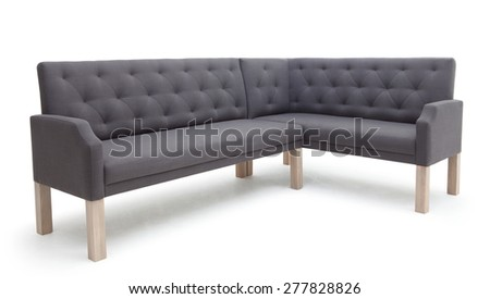 Dining bench with armrests - stock photo