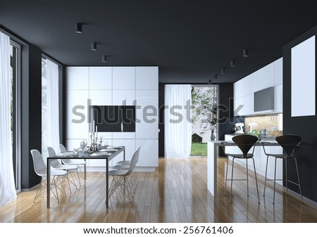 Dining kitchen modern style, 3D images - stock photo