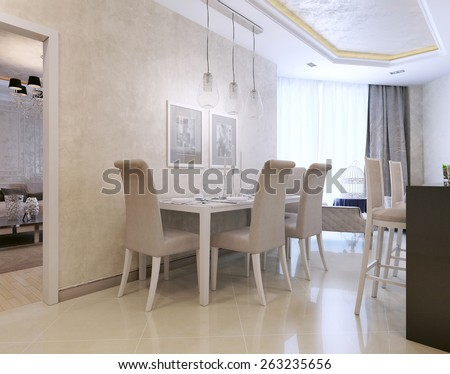 Dining neoclassical style. 3D render - stock photo