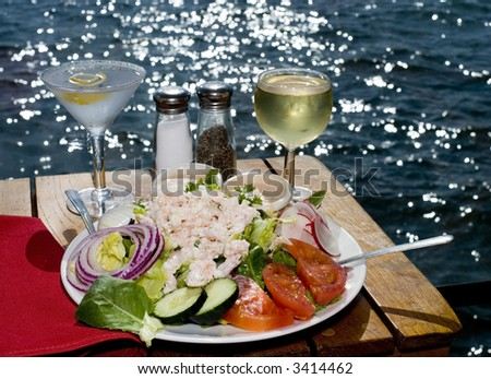 Dining on the Bay - stock photo
