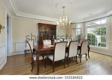 Dining room in luxury home with large buffet