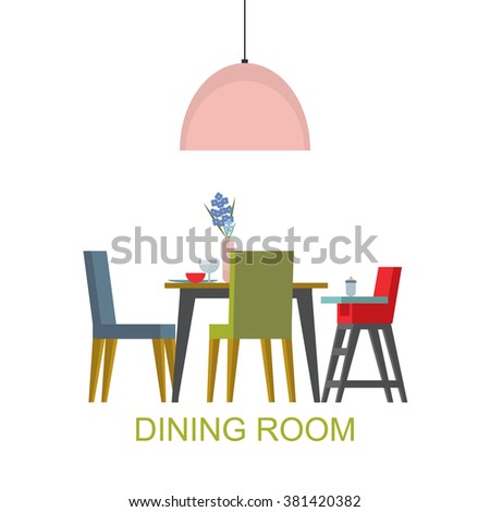 Dining room interior . Raster version - stock photo
