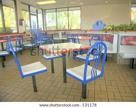 Dining room of fast food restaurant - stock photo