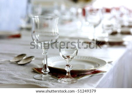 Dining room table, set for dinner