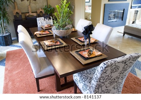 Dining room with festive decor. - stock photo