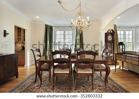 Dining room with view into butler's pantry - stock photo
