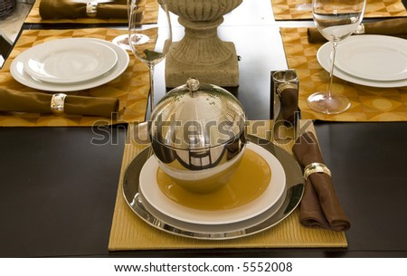 dining table decor detail - stock photo