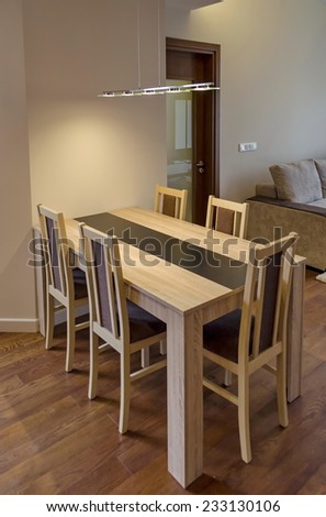 Dining-table in living room - renovated apartment in Sofia, Bulgaria