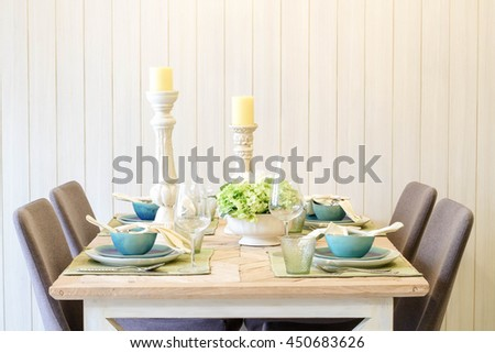 Dining table in the home with luxury decor. - stock photo