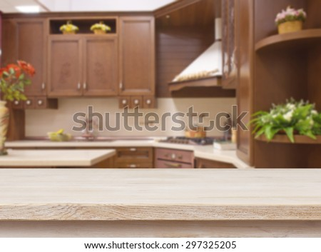 Dinner Table Background dining table on blurred brown kitchen stock photo 297325205