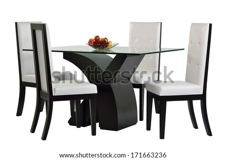 Dining table set. Isolated