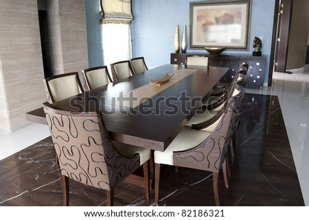 dining table set up in a new modern luxury apartment - stock photo