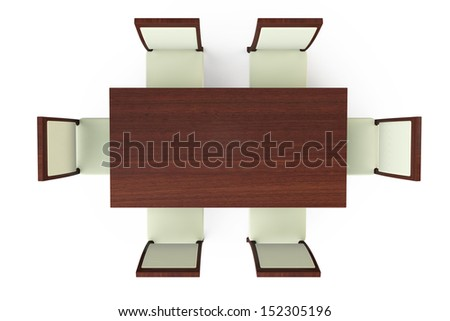 Dining Table with six chairs on a white background - stock photo