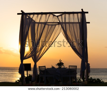 DInner at the Beach (Sunset) - stock photo