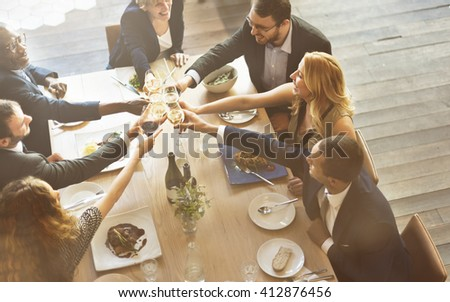 Dinner Dining Wine Cheers Party Concept - stock photo