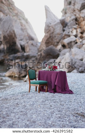 dinner for two on a summer evening on the sea