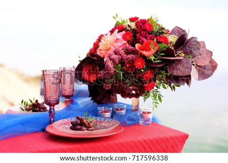 Dinner Two Romantic Table Setting Couple Stock Photo (Royalty Free) 717596338 - Shutterstock  sc 1 st  Shutterstock & Dinner Two Romantic Table Setting Couple Stock Photo (Royalty Free ...