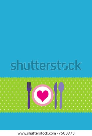 Dinner invitation design with spoon, fork, knife and dinnerplate - stock photo