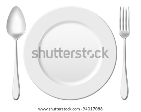 Dinner place setting. A white china plate with silver fork and spoon, isolated on white background