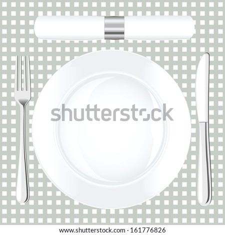 Dinner place setting. Raster version - stock photo
