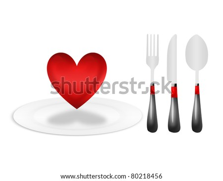dinner plate and cutlery with heart over white background - stock photo