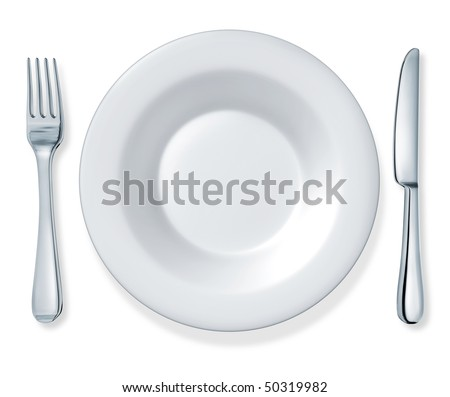 dinner plate fork and knife
