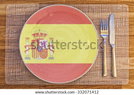 Dinner plate with the flag of Spain on it for your international food and drink concepts.