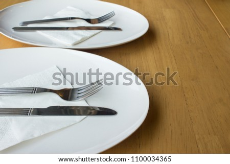 Dinner plates for restaurant background and food industry. Trendy restaurants. & Dinner Plates Restaurant Background Food Industry Stock Photo ...