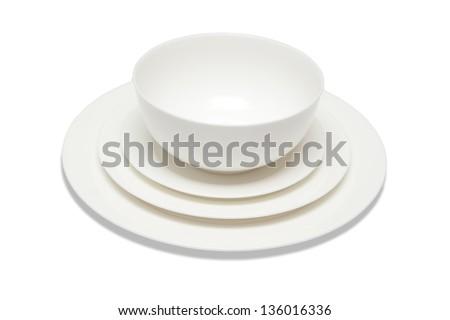 Dinner set on a white background - stock photo