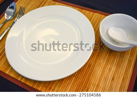 dinner set on the bamboo mat