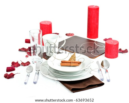 Dinner set with Christmas decoration - stock photo